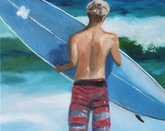 Surfer boy, red board shorts blue surfboard, impressionistic beach art by Nicole Roggeman, nicclectic Surfing paintings, Surfs up, ocean art