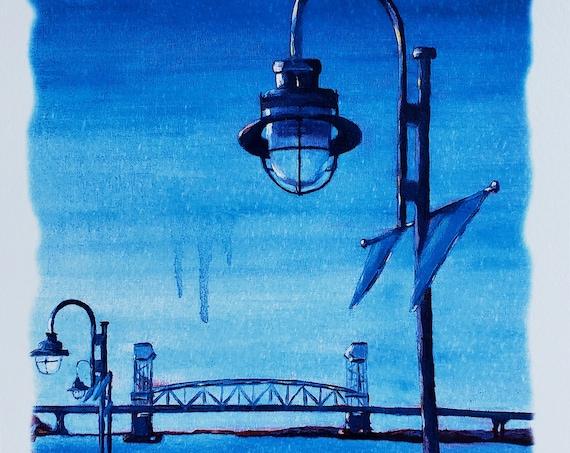 Wilmington, NC print from original art watercolor paper, Riverwalk, downtown Wilmington North Carolina art lamp post, Cape Fear River bridge