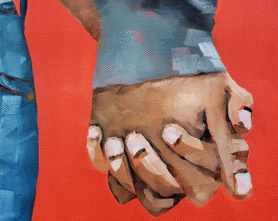Holding Hands Painting for Valentine's Day - free shipping, 8x10 inch gift idea, clasped, couple love, original romantic art Nicole Roggeman