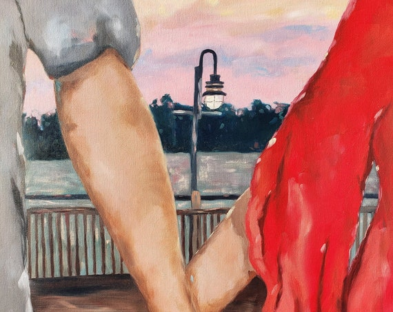 Holding Hands Romantic Art, Wilmington North Carolina Riverwalk Downtown, by Nicole Roggeman at Nicclectic, Clasped hands, couple in love