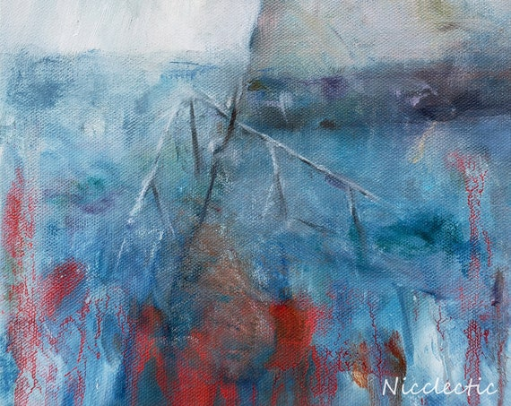 Blue and red abstract art, nautical boating abstraction, water, coastal decor Wilmington North Carolina, Nicclectic, free shipping, drippy