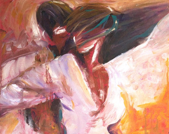 Romantic art, impressionistic, dancing passion print, warm tones,  intimate couple, romance, lust, love, salsa, dancers gift ideas, prints