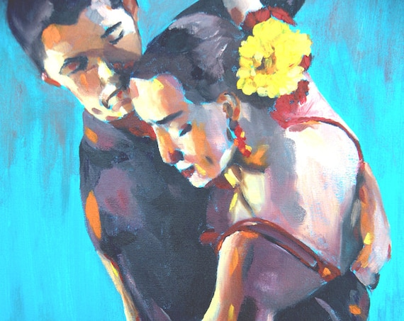 Salsa dancers, intimate couple, seductive dance, art print, salsa dress, passionate dancing couple complimentary colors, tango