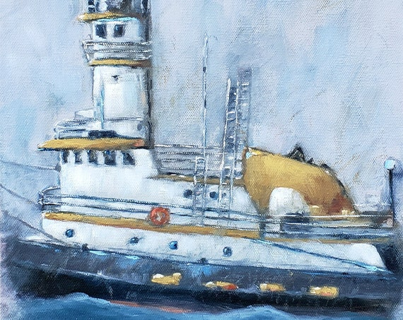 Hudson River Tug Boat Art, The Brooklyn, boat painting, impressionistic nautical art by Nicole Roggeman, nicclectic, boating gifts for dad