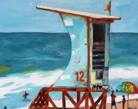 Wrightsville Beach North Carolina, Colorful Lifeguard Stand Painting, art by Nicole Roggeman at Nicclectic, coastal ocean beach decor