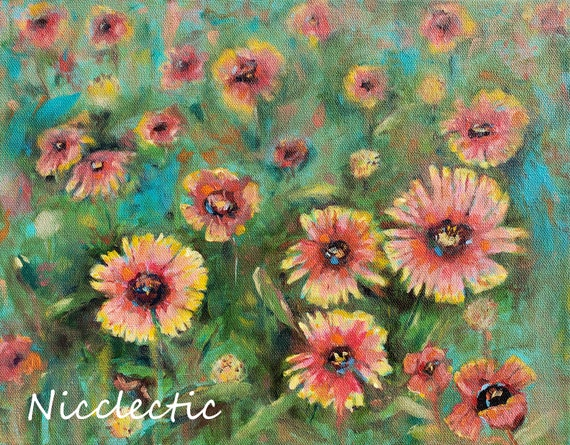 Blanket flowers painted on stretched canvas, Orange and red beach desert wildflowers, North Carolina artist Nicole Roggeman of Nicclectic