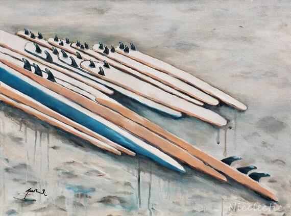 Surfboards on the beach, orange and blue coastal art by Nicole Roggeman at Nicclectic, North Carolina, Surf City, Sand, Water Nostalgia