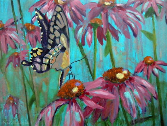 Yellow butterfly, ORIGINAL oil painting, mothers day, Butterfly on Echinacea, garden art, pink flowers, spring, gifts for mom monarch wings
