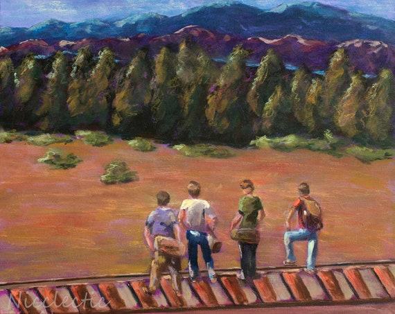 Stand By Me, best friends, friendship, boys, 80s movies, River Phoenix, movie scene, boys bedroom decor, 1980s, railroad tracks, art prints