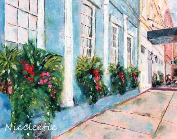 Charleston SC art print from Vendue Range, Colorful buildings full of Southern charm, Window boxes full of flowers, coastal Nicclectic