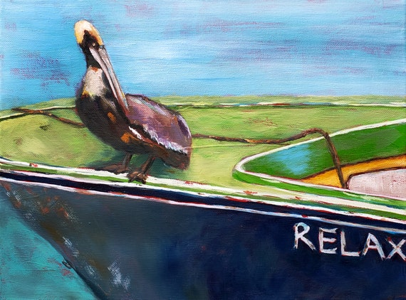 Pelican on boat, Relax themed beach art by Nicole Roggeman @Nicclectic