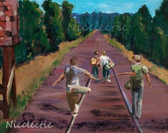 Stand By Me, 80s movies fan art, best friends, friendship, boys walking down railroad tracks, River Phoenix, boys bedroom decor, 1980s