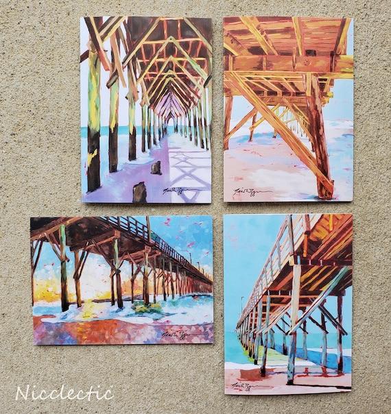 Topsail Island, North Carolina Piers Greeting Card Set,  5x7 blank inside art cards, gift ideas, Surf City Pier North Carolina, Nicclectic