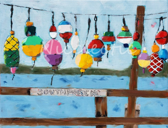 Southport North Carolina Buoys, Colorful 11x14 inch artwork by Nicole Roggeman at Nicclectic, coastal NC water oil painting