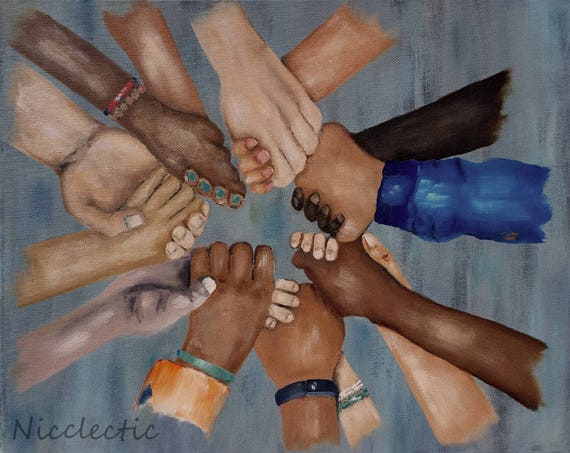 Children in Unity, kids all races holding hands, Martin Luther King, Friendship, peace, love not hate, come together, group holding hands
