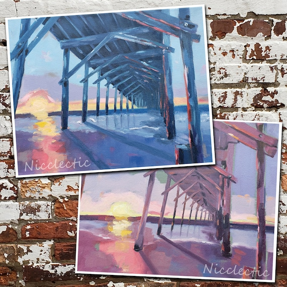 Set of Pier Prints, North Topsail Island NC, Sunrise wooden pier paintings, art by Nicole Roggeman at Nicclectic, 8x10 inch pair of prints
