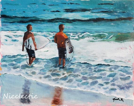 Boys surfing, surf board art, surfing, beach art, colorful surfboard painting, beach boys with surfboards, surf themed boys bedroom decor