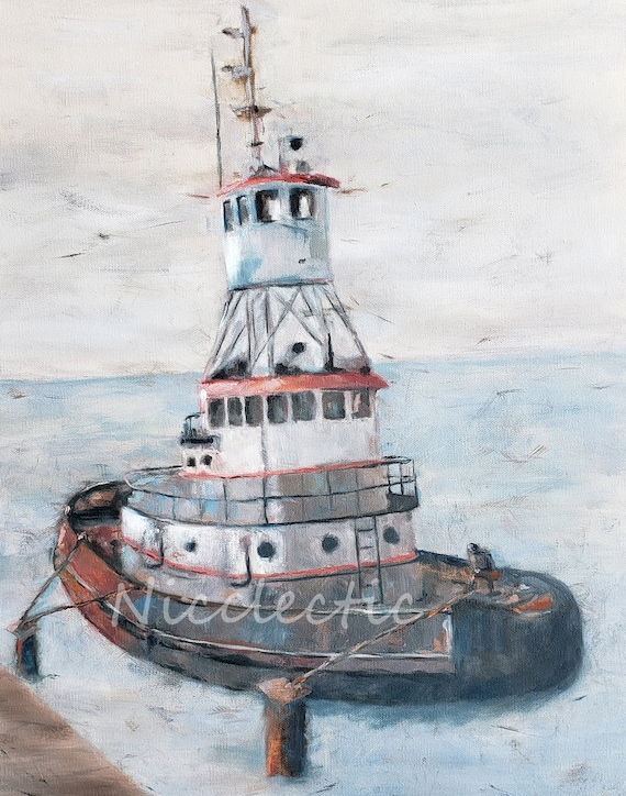 Tug boat, gray and white nautical art, print from oil painting, boat decor, sea life, mens holiday gifts, gifts for dad, nautical, salt life