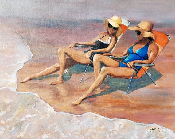 Sunhats on the Beach, Best girlfriends, 24x30 inch original oil painting, ocean sunny beach days, two women, big hats, bestfriends, wall art