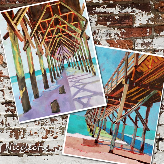 Set of Pier Prints, Topsail Island North Carolina, Colorful wooden pier paintings, art by Nicole Roggeman at Nicclectic, coastal ocean