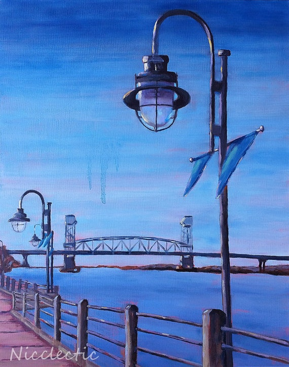 Wilmington, NC Cape Fear River bridge art, downtown, Water Street, North Carolina art, buy local, lamp post, riverwalk Market St, Nicclectic