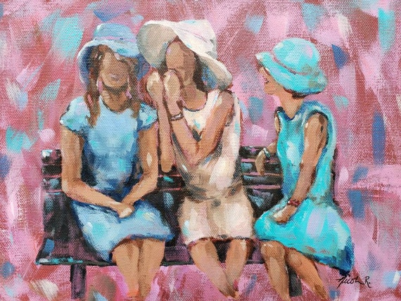 Sisters painting, family best friends, girlfriends, 3 girls hats, friends Nicole Roggeman North Carolina artist, original art, free shipping
