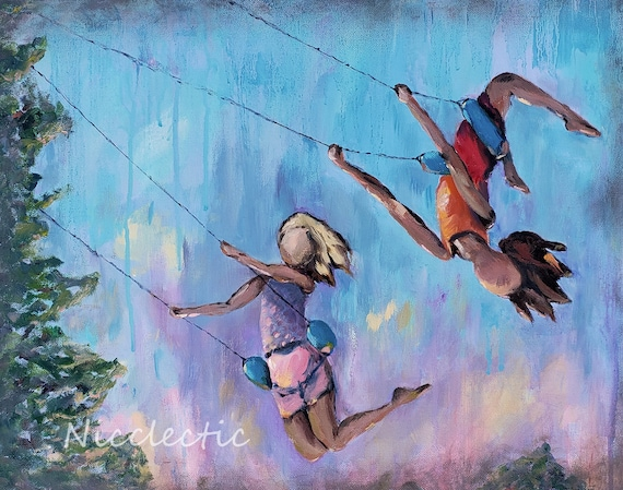"Girls on swings, kids playing, kids bedroom decor, wall art ""Swing Life Away"", 11x14 print, childrens art Nicole Roggeman summer fun besties"