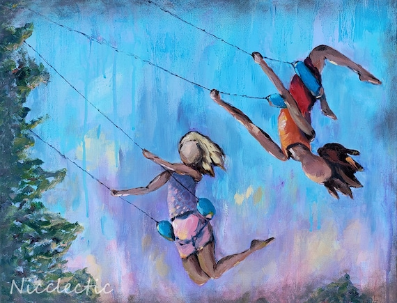 "Girls on swings, kids playing, girls bedroom decor, wall art ""Swing Life Away"", best friends, childrens art, Nicole Roggeman, summer fun"