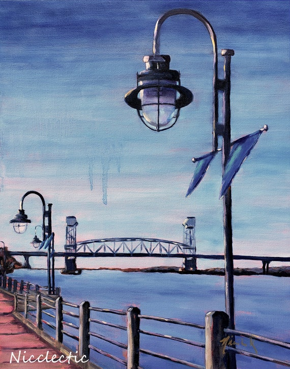 Downtown Wilmington, NC Riverwalk, lamp post, Cape Fear River bridge, print from original art watercolor paper, Coastal Town, Nicclectic