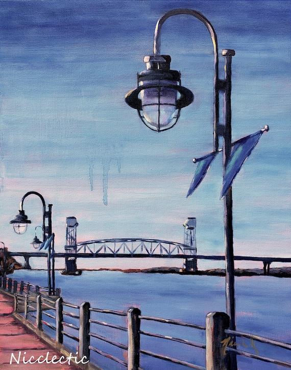 Downtown Wilmington, NC Riverwalk, lamp post, Cape Fear River bridge, print from original art watercolor paper, Coastal Town, Nicclectic