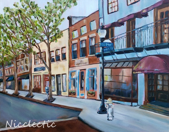 Downtown Wilmington, NC Market and Water Street, North Carolina art, Nicclectic, watercolor paper print, coastal city street scene