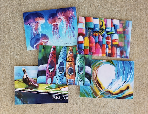 Set of 5 Coastal Greeting Cards: 5x7 inches, blank inside cards-jellyfish, kayaks, buoys, pelican, boat, wave, by Nicole Roggeman nicclectic