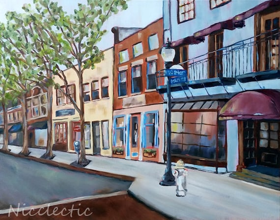 Wilmington, NC original painting, downtown, Water Street, North Carolina art, buy local, street view, riverwalk, Market St, Nicclectic