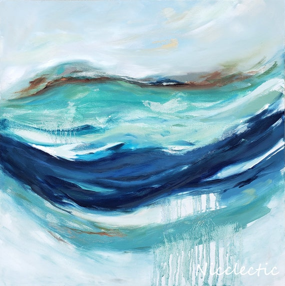 Rainy Abstract Oil Painting, abstraction in shades of blue, 20x20 inch canvas abstract art, inspired by water, coastal art by Nicclectic