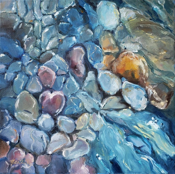 Creekbed pebbles, abstract blue painting, water, stones, blue pebbles under water, creek summer, abstract art, blue abstract rocks, square