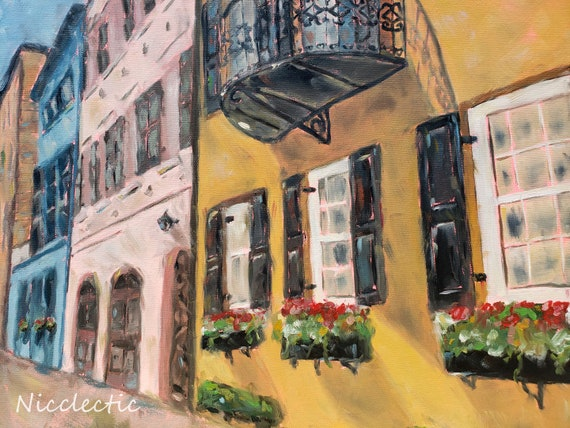 Charleston SC Rainbow Row original oil painting, Colorful buildings full of Southern charm, street view, coastal town by Nicclectic