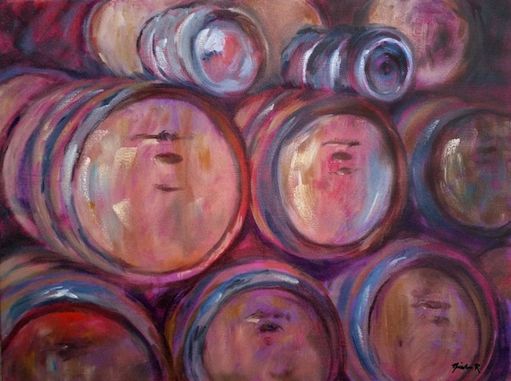 SALE Wine Barrels, winery art, painting of wooden wine barrels, wine lovers, brown, impressionistic oil painting for kitchen or dining room