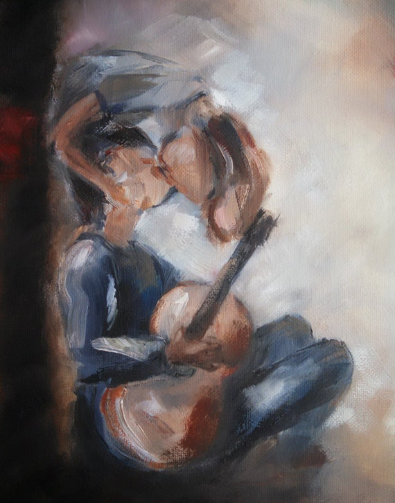 Boy with a guitar, upside down kiss, Painting Sale, romantic art, art for boyfriend, young love, couple kissing, music romance Free shipping