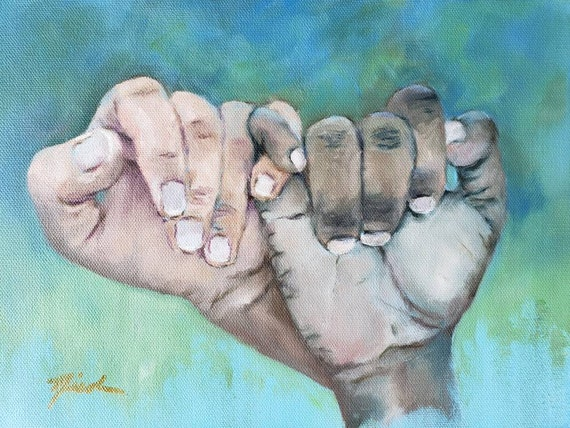 Racial equality, love, friendship, unity, black lives matter, joined black and white hands together, Peace, I Stand with You by Nicclectic