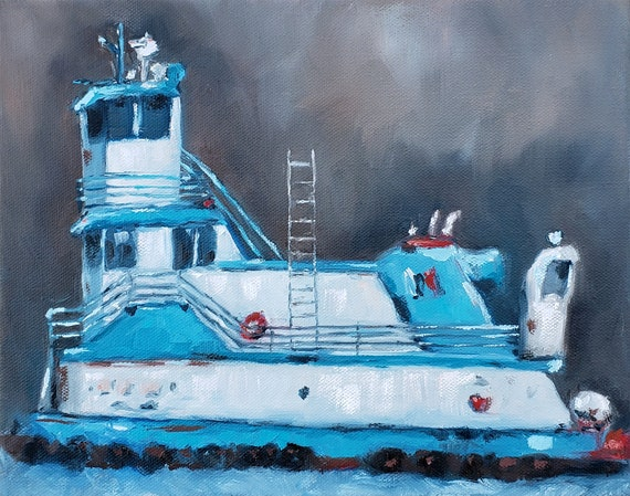 Tug Boat Art, Hudson River, blue and white boat painting, impressionistic nautical art by Nicole Roggeman, nicclectic, boating gifts for dad