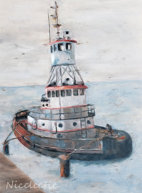 Tug boat artwork for coastal inspired design, gray tones, impressionistic nautical art, boating, boat oil painting, Cape Canaveral Florida