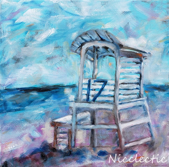 Carolina Beach Lifeguard Stand, impressionistic coastal art, square lifeguard station beach, Nicole Roggeman at Nicclectic, North Carolina