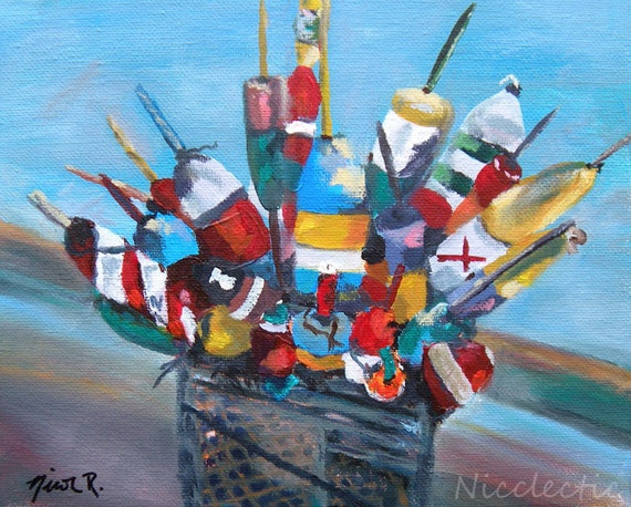 Nautical decor, buoys, boating gifts, gifts for dad, sailing, impressionistic art, colorful buoy art, boat decor, coastal art, fathers day