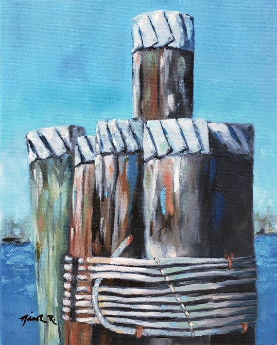 Downtown Wilmington wood pilings, Cape Fear River, Nicole Roggeman of Nicclectic, North Carolina artist original art free shipping, nautical