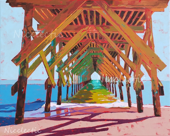 Crystal Pier, Wrightsville Beach North Carolina, Colorful painting, art by Nicole Roggeman at Nicclectic, coastal ocean wooden pier water