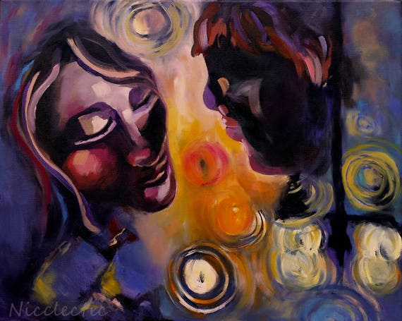 Nighttime Reflections, midnight blue, love, memories, missing, dreaming, couple, abstract, romantic faces, light, dreamers, Van Gogh SALE