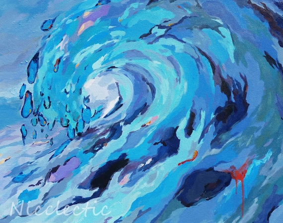 Wave print, ocean artwork, colorful wave art, beach house wall art, coastal decor, surf, blue art, wave barrel, ocean beach themed art