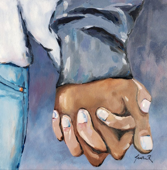 Holding hands romantic art oil painting, this is us, couple holding hands, love, husband and wife, girlfriend gifts, clasped hands together