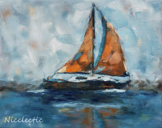 Orange sailboat 8x10 inch coastal artwork, Gift ideas for boat lover, small boat painting, blue and orange oil painting, all things coastal