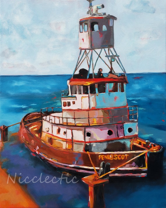 Colorful Tug Boat, lake house art, nautical gifts for dad, mountains, river, tugboat, gifts for boaters, boating lakehouse decor
